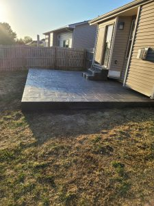 house with concrete patio