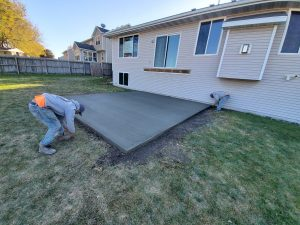 newly cement house patio