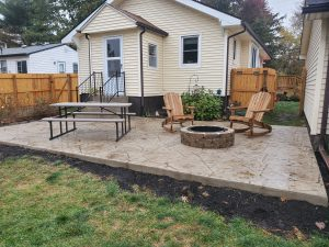 house backyard with fire pits